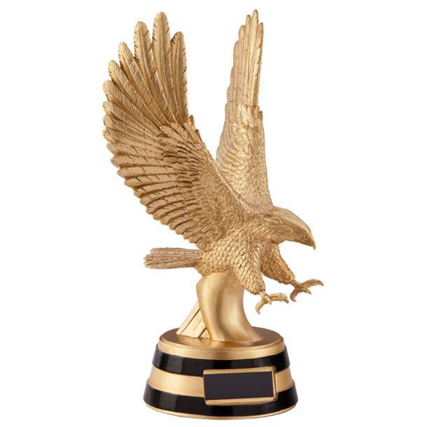 """Gold Resin Motion Golden Eagle Trophy 25cm (9.75"""")"""