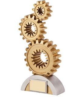 "Gold & Silver Achievement Cogs Award Trophy 17.5cm (6.75"")"