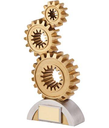 """Gold & Silver Achievement Cogs Award Trophy 17.5cm (6.75"""")"""