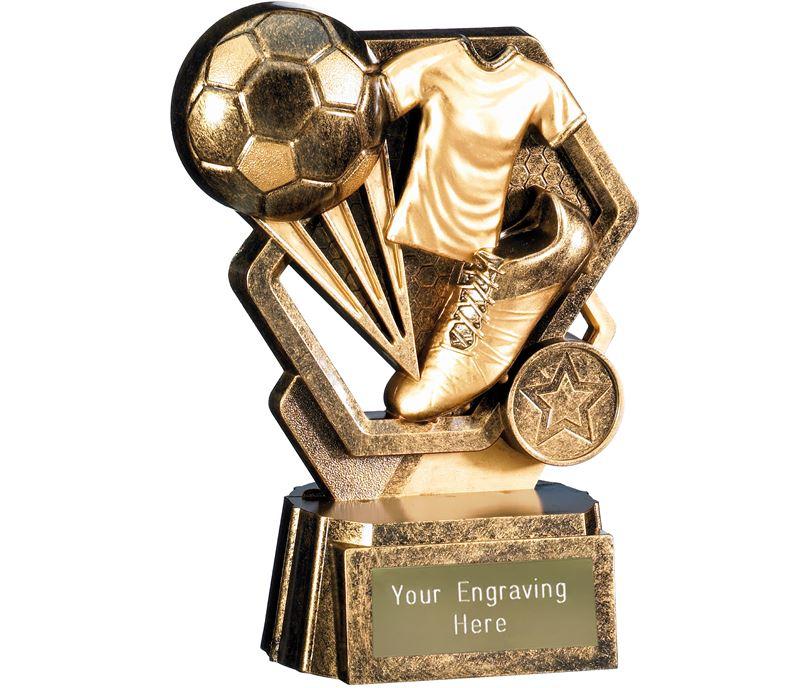 "Thunder Football Trophy Antique Gold 15cm (6"")"