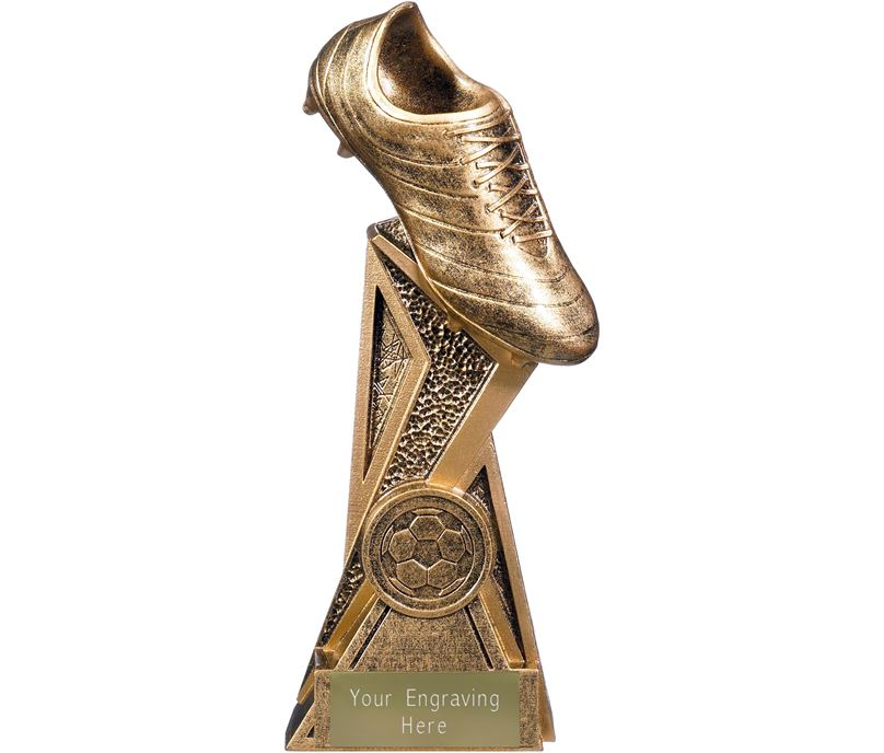 "Storm Football Boot Trophy Antique Gold 17cm (6.75"")"