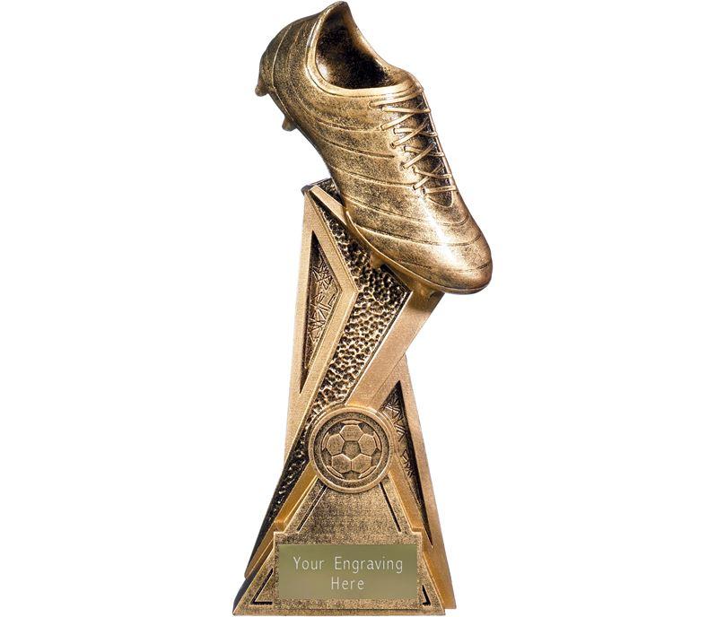 "Storm Football Boot Trophy Antique Gold 21cm (8.25"")"