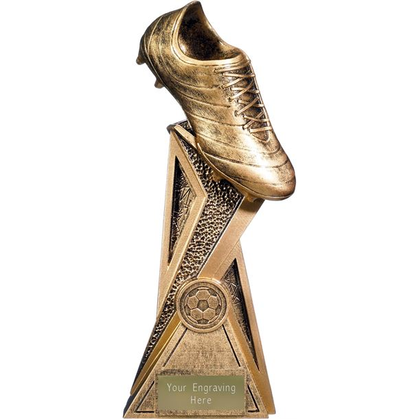 "Storm Football Boot Trophy Antique Gold 24cm (9.5"")"