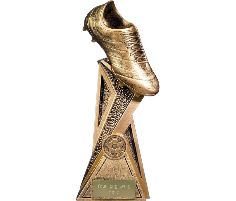 "Storm Football Boot Trophy Antique Gold 24cm (9.5"")"
