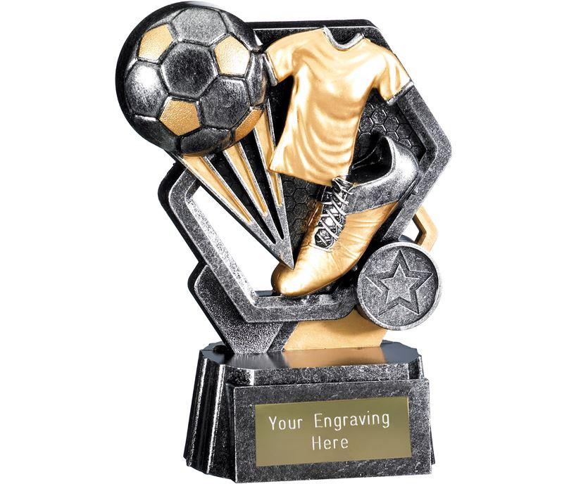 "Thunder Football Trophy Antique Silver 15cm (6"")"