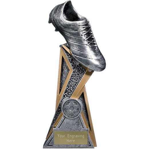 """Storm Football Boot Trophy Antique Silver 21cm (8.25"""")"""