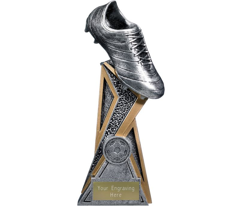 "Storm Football Boot Trophy Antique Silver 21cm (8.25"")"