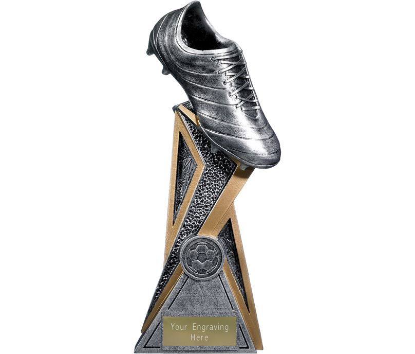 "Storm Football Boot Trophy Antique Silver 24cm (9.5"")"