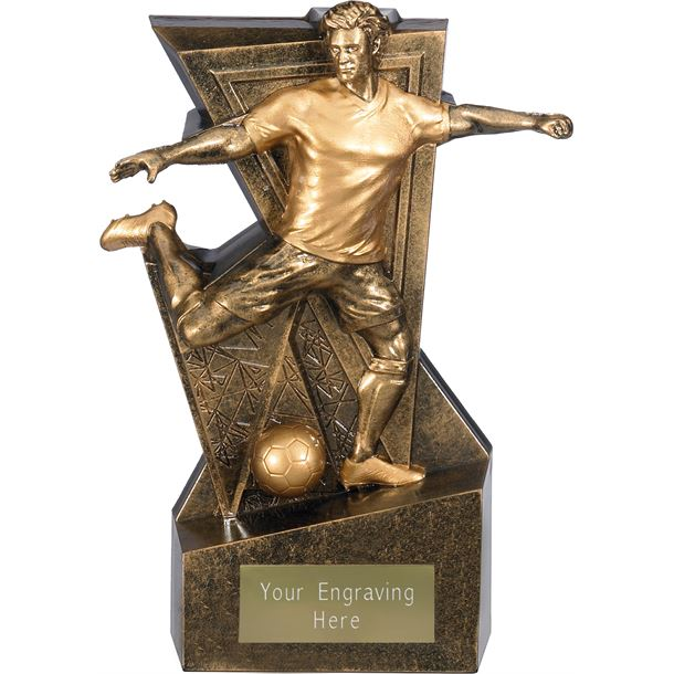 """Legacy Male Football Trophy Antique Gold 16cm (6.25"""")"""