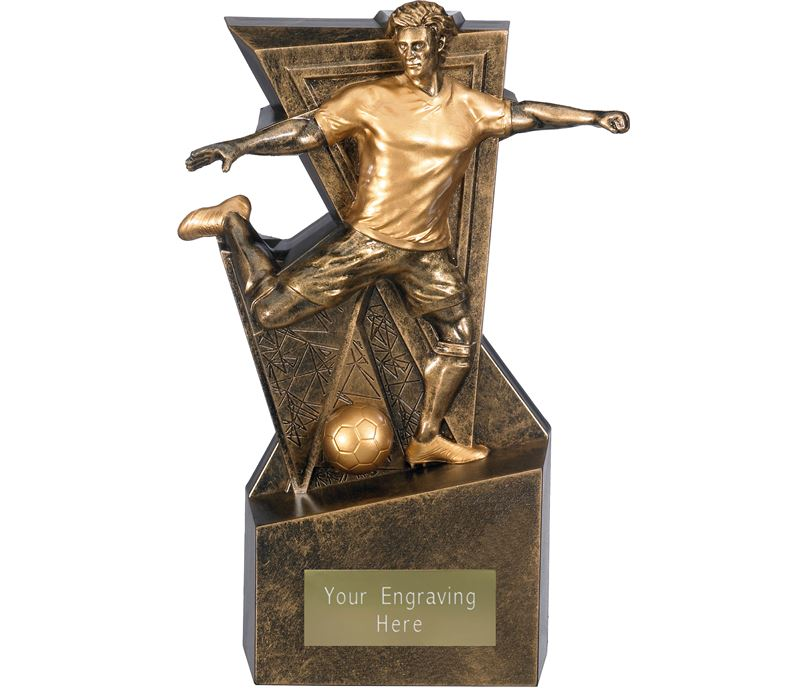 "Legacy Male Football Trophy Antique Gold 22cm (8.75"")"