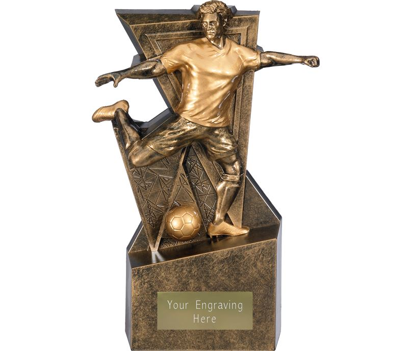 "Legacy Male Football Trophy Antique Gold 26cm (10"")"