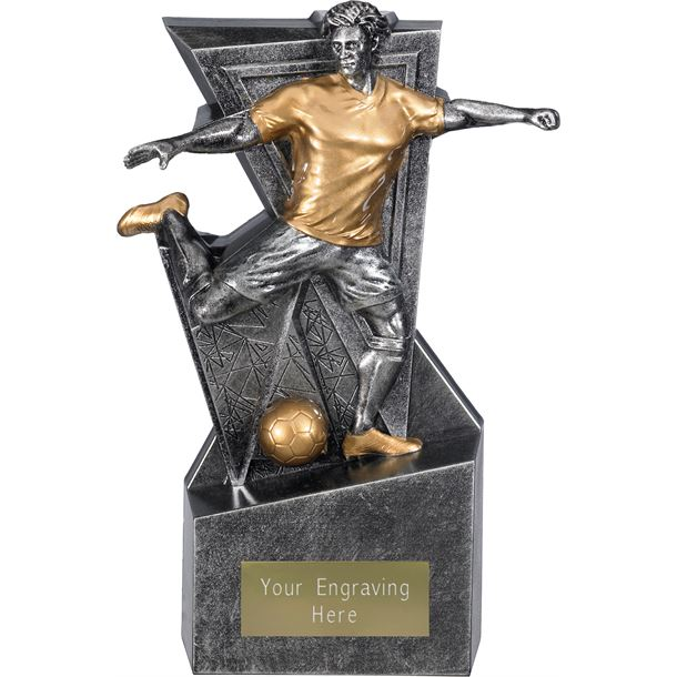 "Legacy Male Football Trophy Antique Silver 22cm (8.75"")"