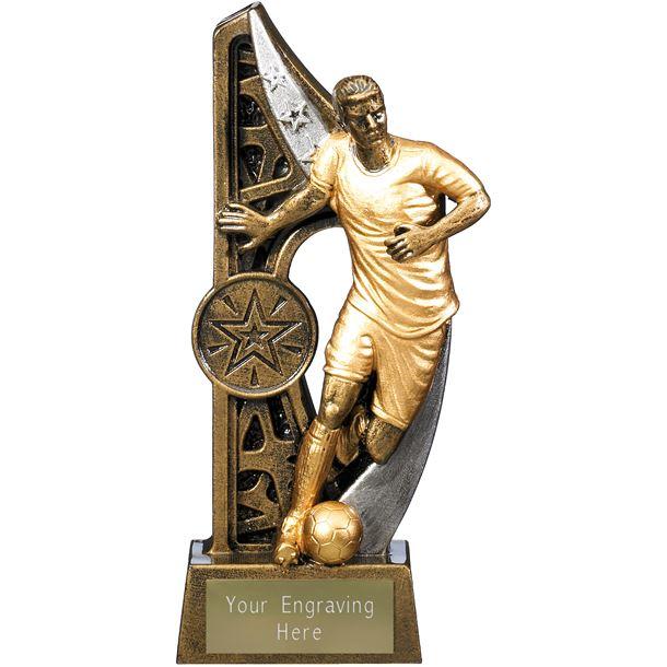 "Imperius Male Football Figure Trophy Antique Gold 15cm (6"")"