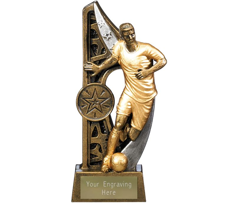 "Imperius Male Football Figure Trophy Antique Gold 15cm (6"")"
