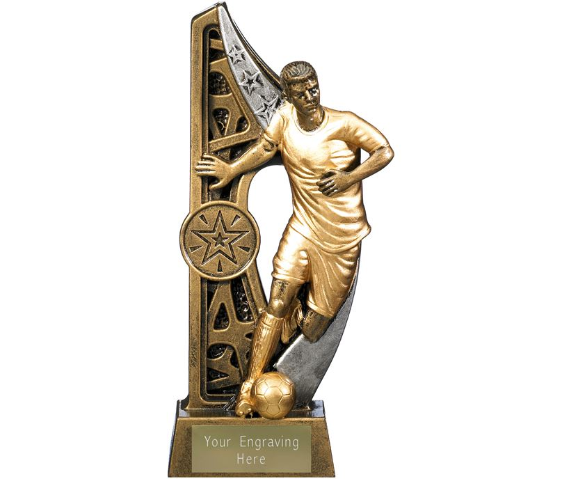 "Imperius Male Football Figure Trophy Antique Gold 17cm (6.75"")"