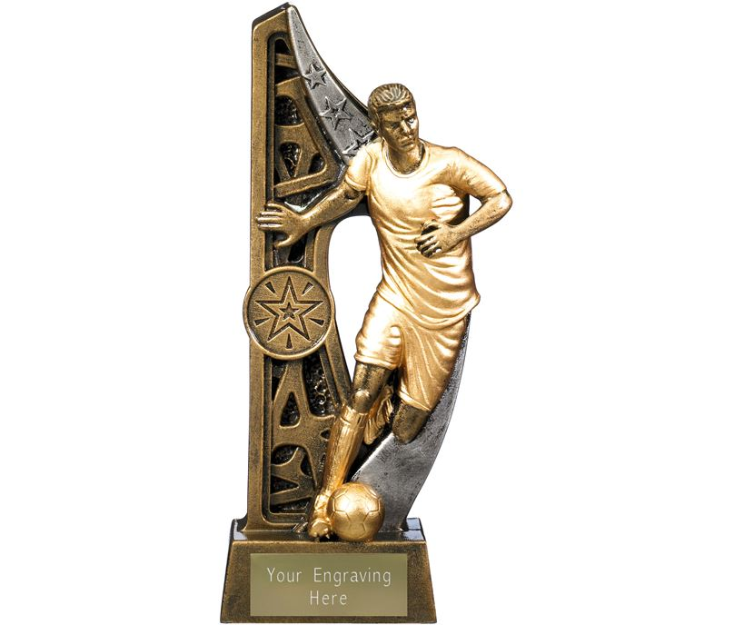 "Imperius Male Football Figure Trophy Antique Gold 19cm (7.5"")"