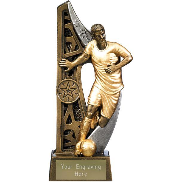 "Imperius Male Football Figure Trophy Antique Gold 21cm (8.25"")"