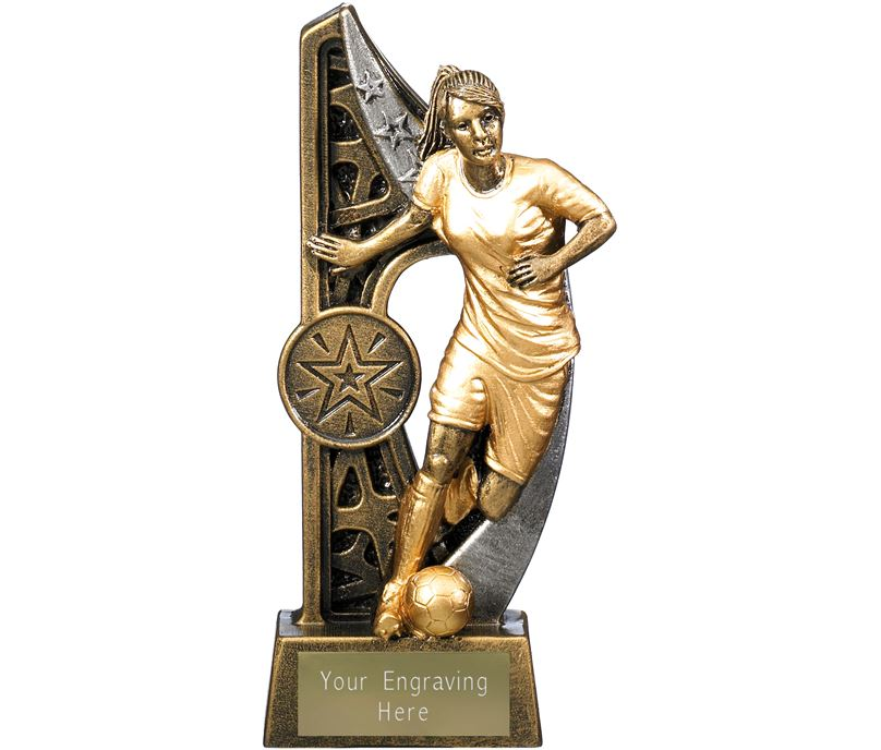 "Imperius Female Football Figure Trophy Antique Gold 15cm (6"")"