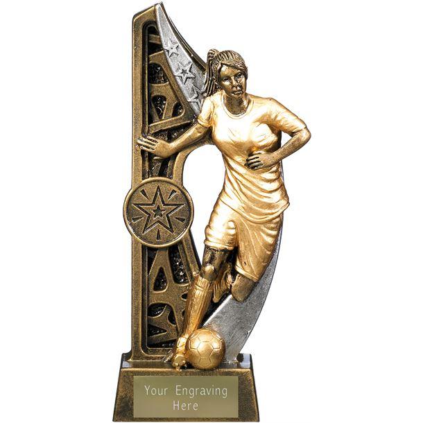 "Imperius Female Football Figure Trophy Antique Gold 17cm (6.75"")"