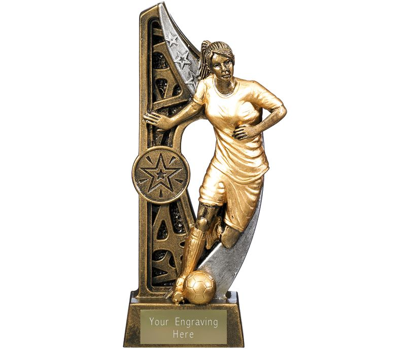 "Imperius Female Football Figure Trophy Antique Gold 17cm (6.75"")"