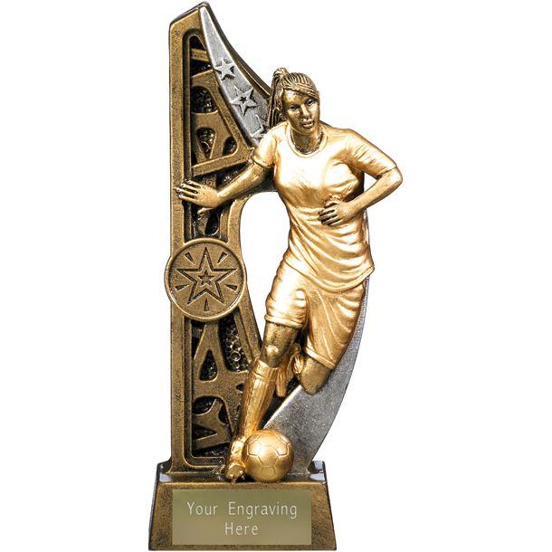 "Imperius Female Football Figure Trophy Antique Gold 19cm (7.5"")"