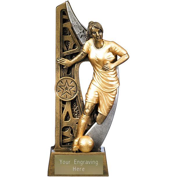 "Imperius Female Football Figure Trophy Antique Gold 21cm (8.25"")"