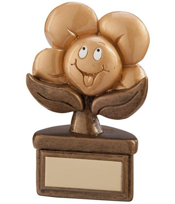 "Gold Resin Childrens Playful Flower Trophy 10cm (4"")"