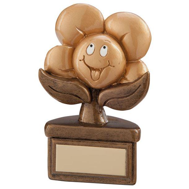 """Gold Resin Childrens Playful Flower Trophy 10cm (4"""")"""