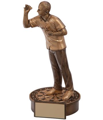 "Gold Resin Male Motion Darts Figure Trophy 16cm (6.25"")"