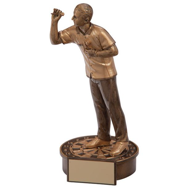 "Gold Resin Male Motion Darts Figure Trophy 16cm (6.25"")"