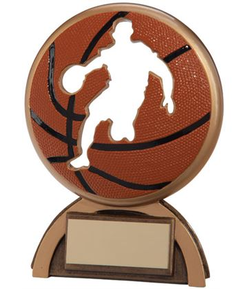 "Orange & Gold Resin Shadow Basketball Trophy 12cm (4.75"")"