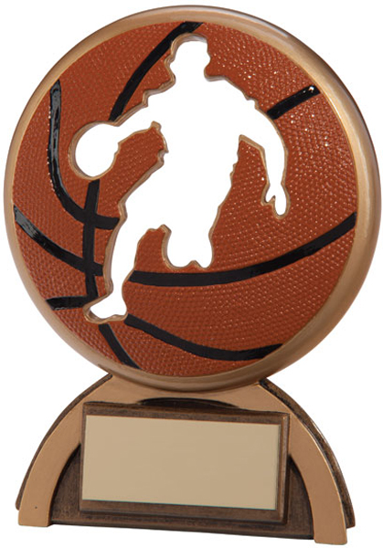 "Orange & Gold Resin Shadow Basketball Trophy 14cm (5.5"")"