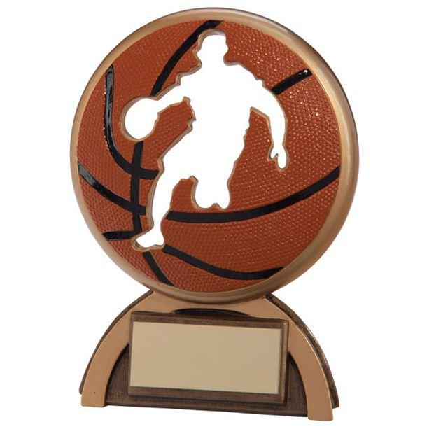 "Orange & Gold Resin Shadow Basketball Trophy 14cm (5.5"")"