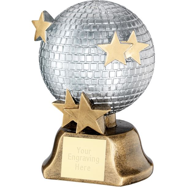 "Dance Disco Glitter Ball Trophy with Stars 15cm (6"")"