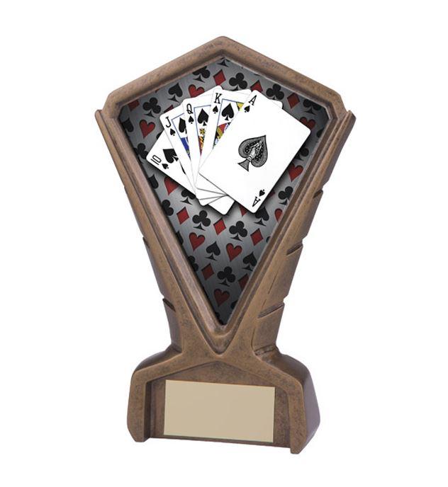 "Gold Resin Phoenix Poker Centre Trophy 17cm (6.75"")"