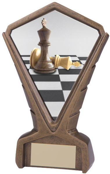 "Gold Resin Phoenix Chess Centre Trophy 17cm (6.75"")"