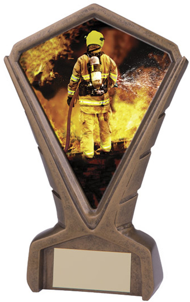 "Gold Resin Phoenix Fireman Centre Trophy 17cm (6.75"")"
