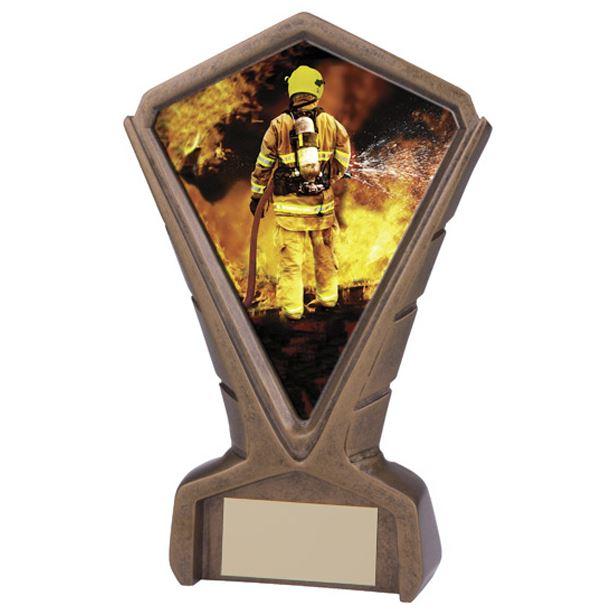 "Gold Resin Phoenix Fireman Centre Trophy 17cm (6.75"")"