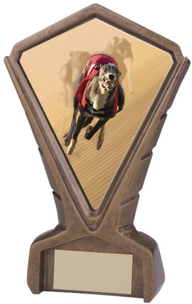 "Gold Resin Phoenix Greyhound Racing Centre Trophy 17cm (6.75"")"