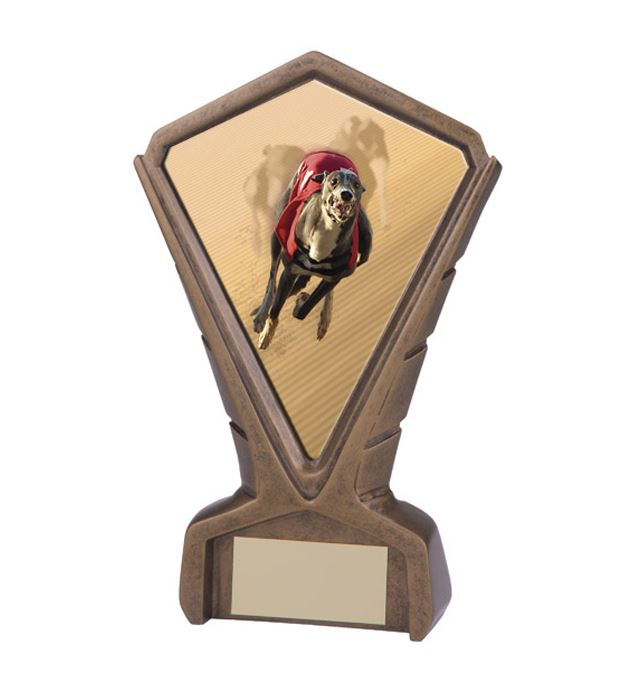 "Gold Resin Phoenix Greyhound Racing Centre Trophy 17cm (6.75"")"