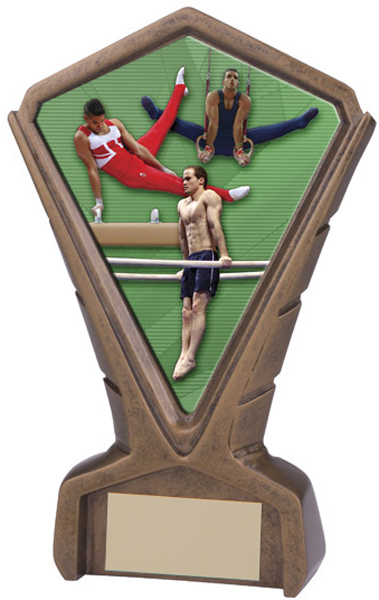 "Gold Resin Phoenix Male Gymnastics Centre Trophy 17cm (6.75"")"