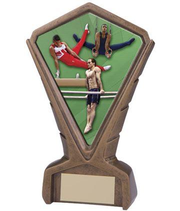 """Gold Resin Phoenix Male Gymnastics Centre Trophy 17cm (6.75"""")"""
