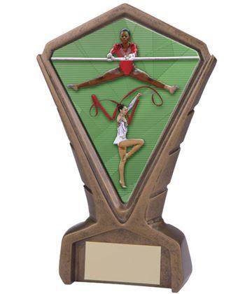 "Gold Resin Phoenix Female Gymnastics Centre Trophy 17cm (6.75"")"