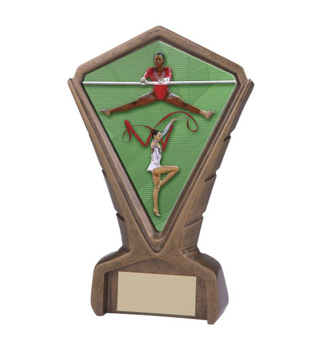 "Gold Resin Phoenix Female Gymnastics Centre Trophy 17cm (6.75"")"