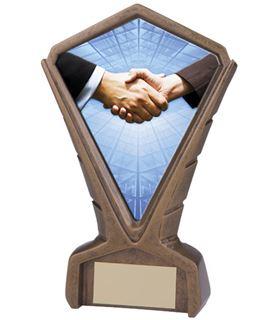 "Gold Resin Phoenix Handshake Centre Trophy 17cm (6.75"")"