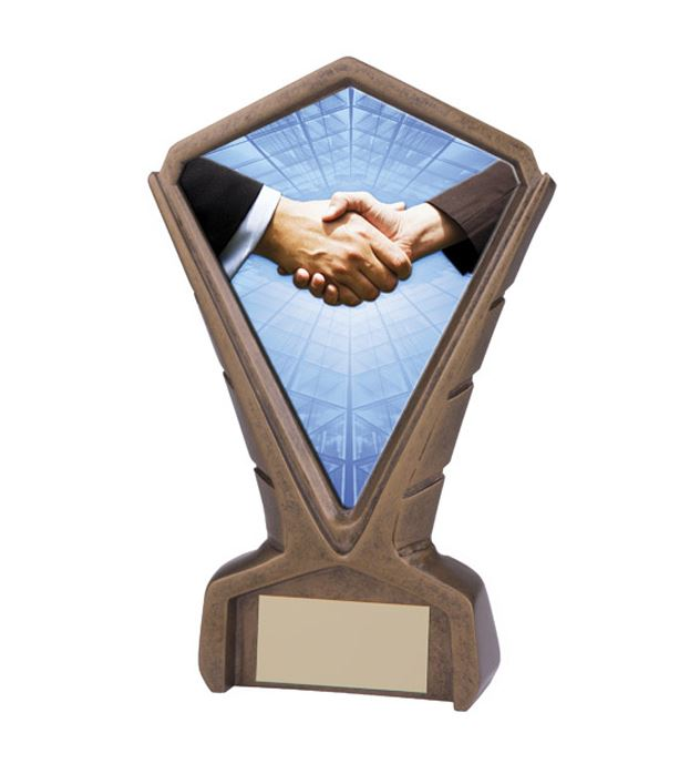 "Gold Resin Phoenix Handshake Centre Trophy 17cm (6.75"")"