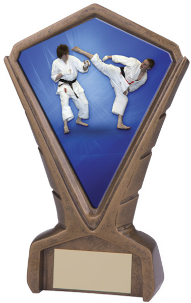 "Gold Resin Phoenix Karate Centre Trophy 17cm (6.75"")"
