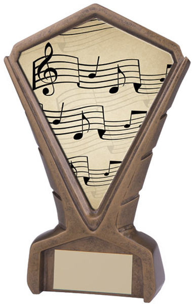"Gold Resin Phoenix Music Note Centre Trophy 17cm (6.75"")"