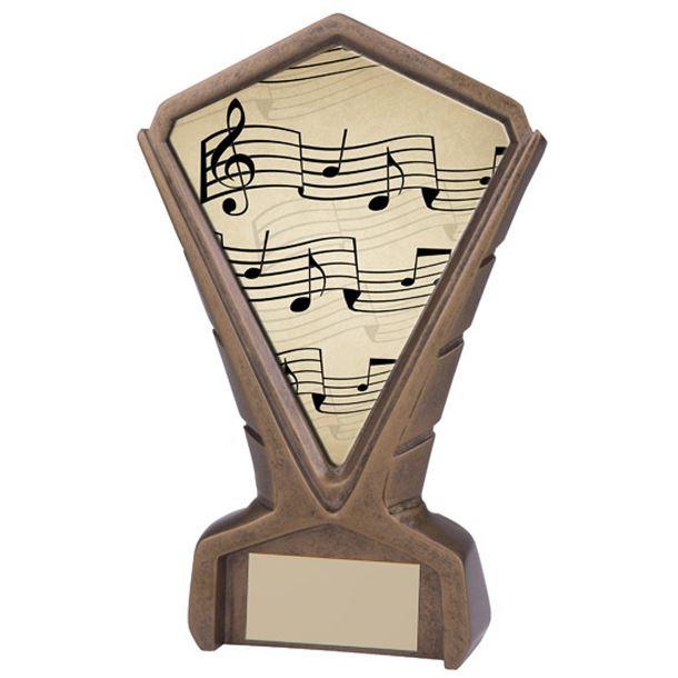 """Gold Resin Phoenix Music Note Centre Trophy 17cm (6.75"""")"""