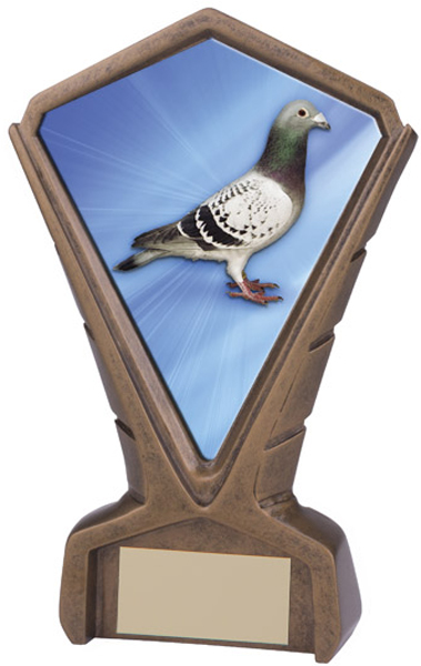 "Gold Resin Phoenix Pigeon Racing Centre Trophy 17cm (6.75"")"